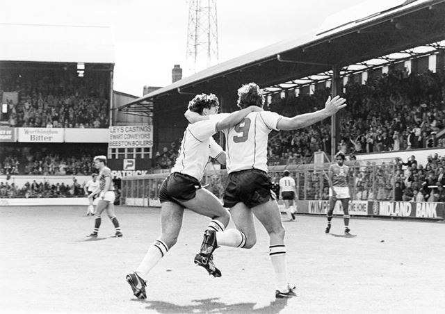 Bobby Davison congratulates Bobby Campbell after the Rams striker scored against Oldham Athletic