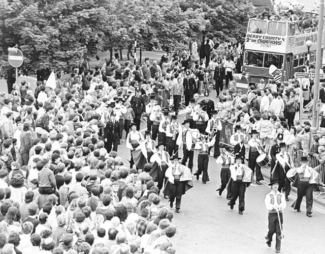 Derby Seranaders band leads the Rams parade through Derby after being crowned 2nd Division Champions
