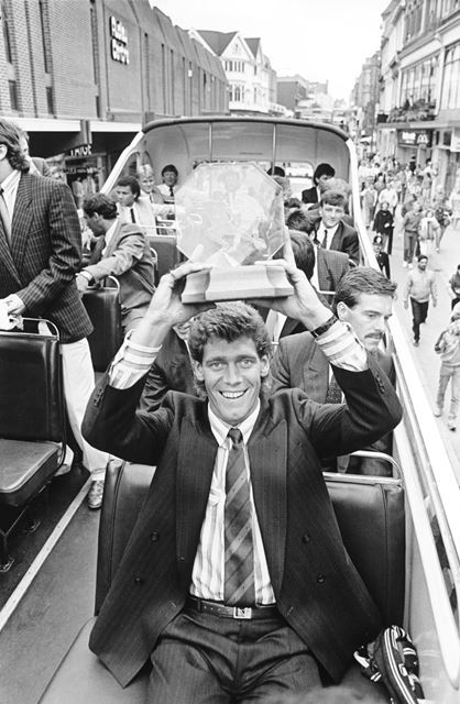 Derby County Skipper Rob Hindmarch holds the trophy in the Rams parade through Derby after being cro