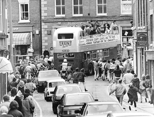 Derby County fans at the victory parade after being crowned 2nd Division Champions
