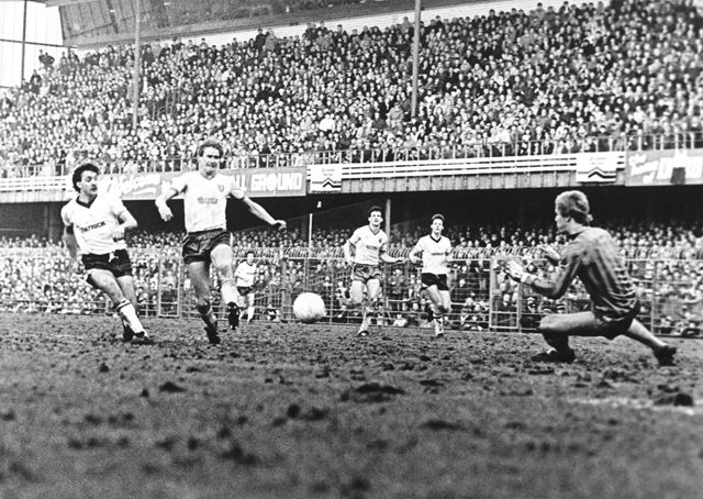 Derby County Striker Bobby Davison scores the Rams 2nd goal against Norwich City