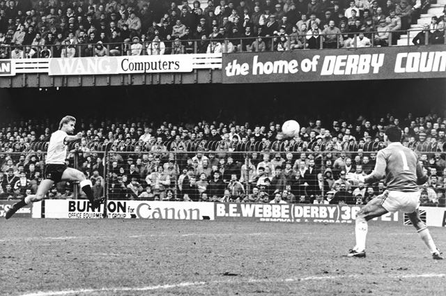 Derby County striker Phil Gee in Match Against Charlton Athletic, Baseball Ground, Derby, 1988