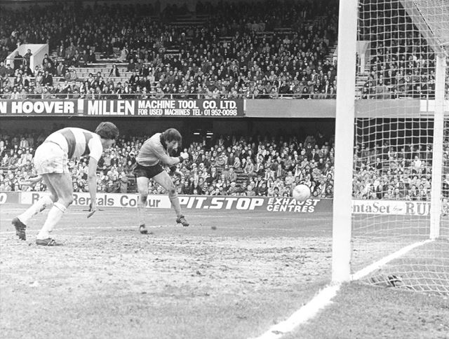Derby County striker Andy Crawford Scores Against QPR, London, 1979