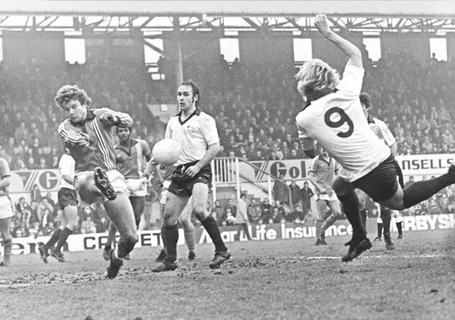 Derby County's Alan Biley and Steve Powell