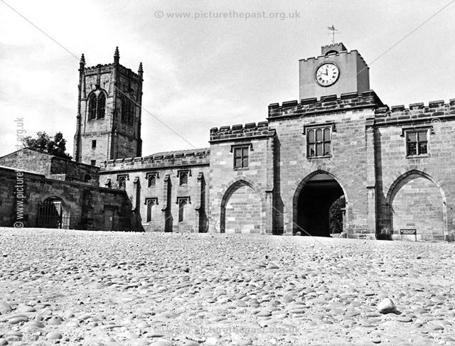 Elvaston Castle Courtyard - showing St Bartholomew's Church tower
