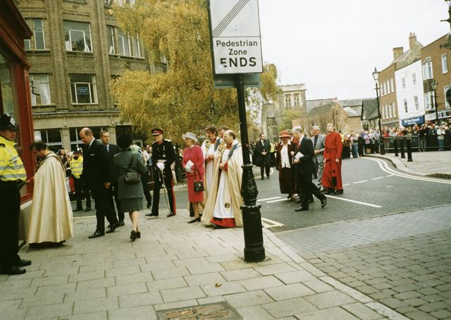 Various dignitaries shown during the Queen's visit to Derby for the opening of the Cathedral Centre