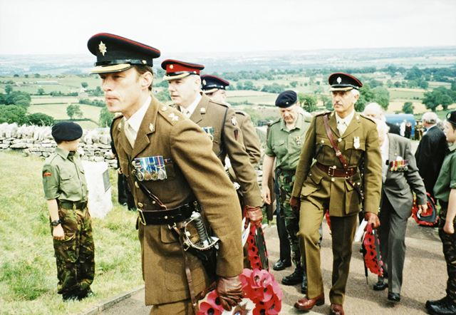 Annual Pilgrimage by Worcester and Sherwood Foresters to their war memorial at Crich Stand.
