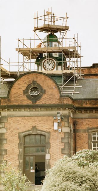 Clock and cupola repairs at the Severn Trent Water - Derby sewage treatment works, Megaloughton Lane