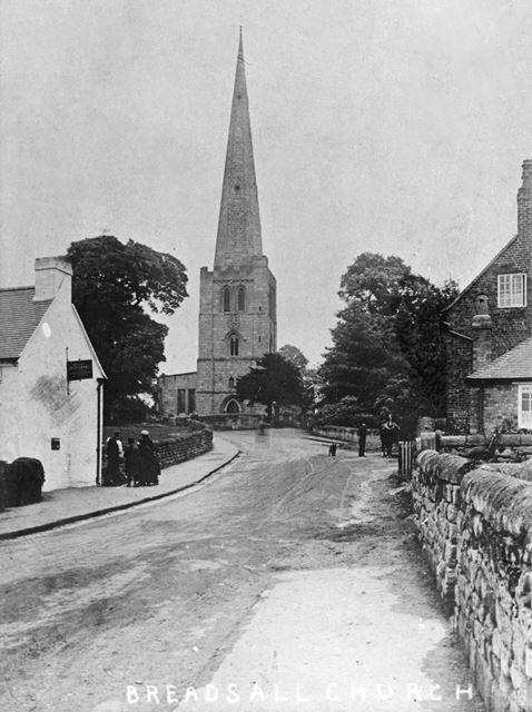 Post Office and All Saints Church, Moor Road, Breadsall, c 1935