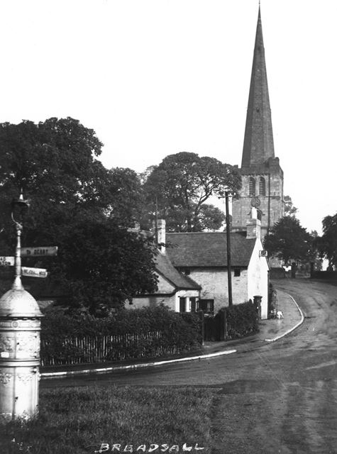 All Saints Church and Post Office from Church Lane Jucnction, Moor Road, Breadsall, c 1935-40