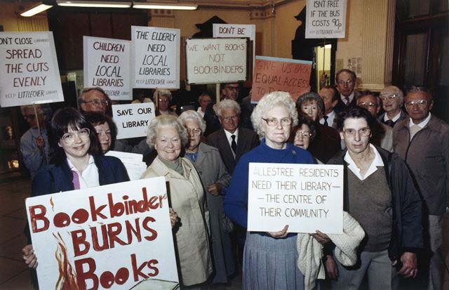 A group protesting, at County Hall Matlock, about the closure of a number of public branch libraries