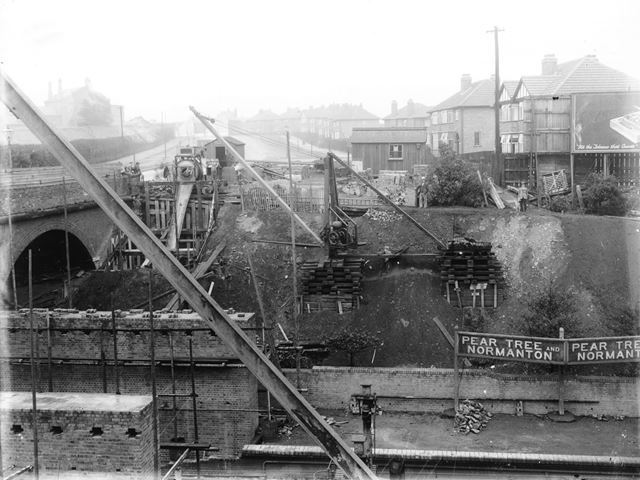 Construction of Pear Tree bridge, viewed from the railway embankment,Pear Tree