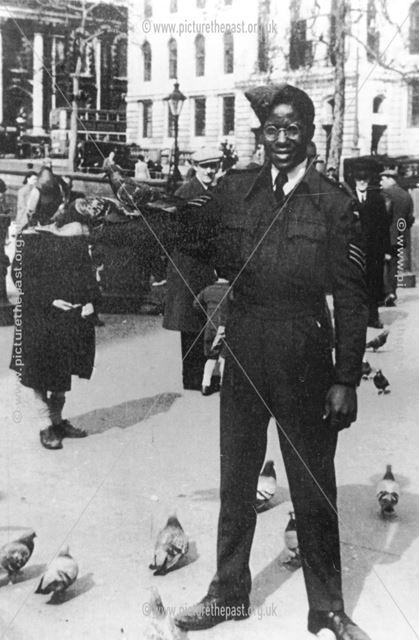 Robert Nathaniel Murray wearing his R.A.F uniform in Trafalgar square